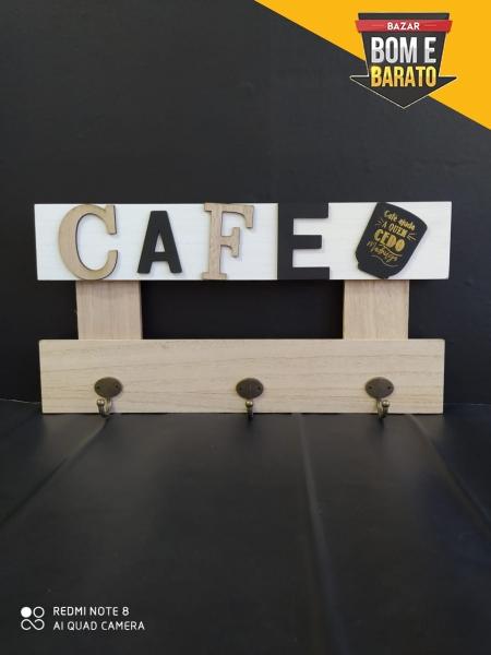 PLACA GANCHO DE MADEIRA CAFÉ