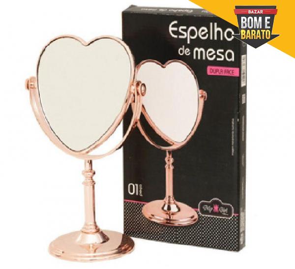 Espelho de Mesa Coração Dupla Face com Pedestal e Aumento Rose 18x26cm