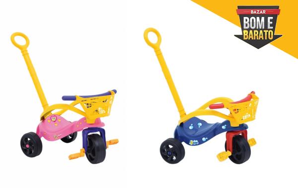 triciclo c/ empurrador e cestinha