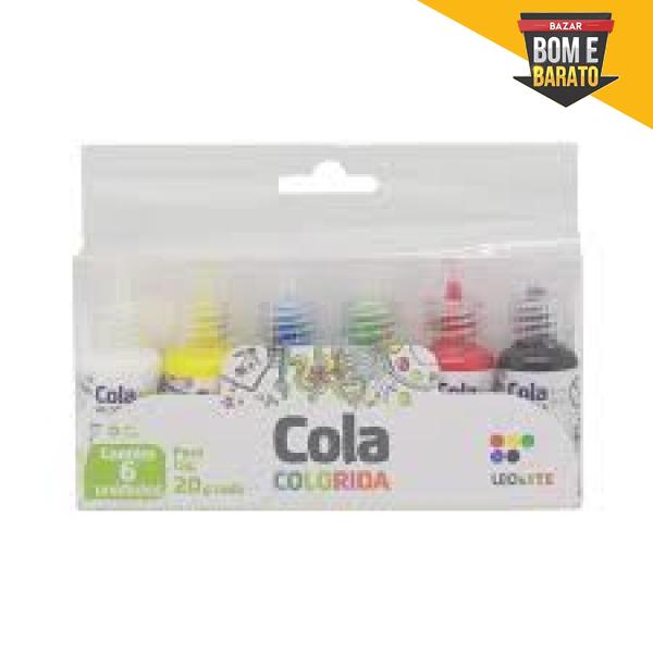 COLA COLORIDA  LEO ARTE COM 6 UNIDADES