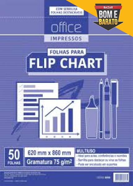 BLOCO FLIP CHART 620 x 860 75G 50FLS 01/PT OFFICE