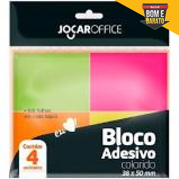 BLOCO ADESIVO COM 4 UN COLORIDO 38X50MM JOCAR OFOCE