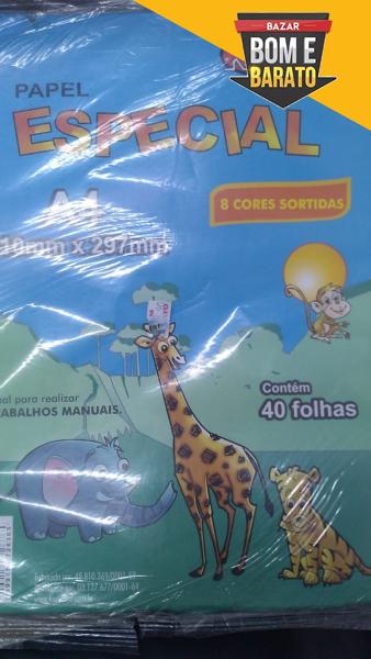 PAPEL ESPECIAL KAZZOO 8 CORES SORTIDAS COM 40 FOLHAS