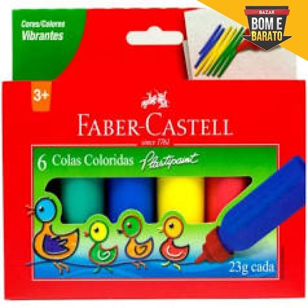 COLA COLORIDA COM 6 CORES FABER-CASTELL