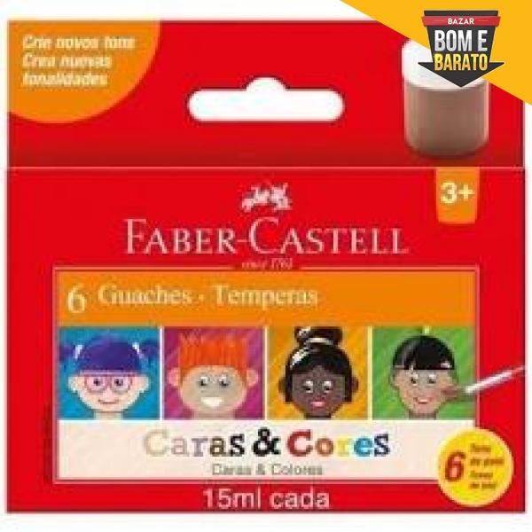 TINTA GUACHE 6 CORES CARA E CORES FABER-CASTELL 15ML