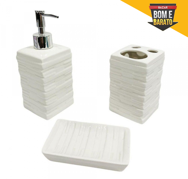 Kit Banheiro de Porcelana Premium com 3 Pecas Wincy - Branco