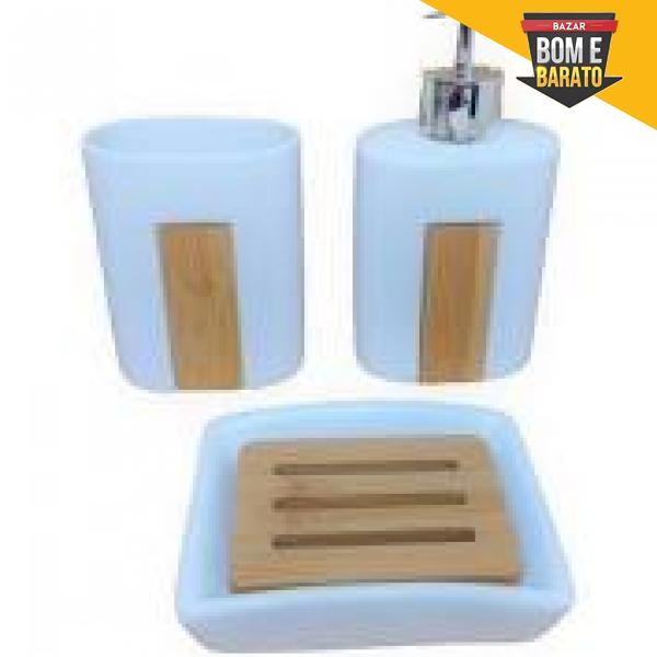 Kit 3 Peças Banheiro Detalhe de Bambu Branco - Wincy