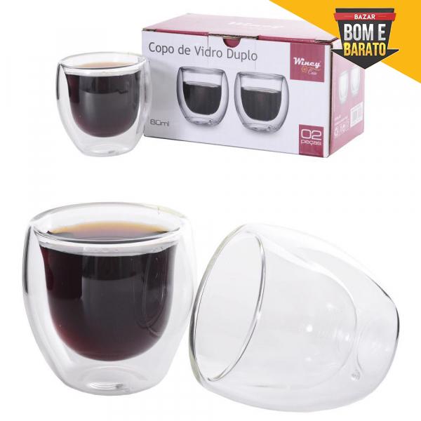 JOGO DE COPO DE VIDRO DUPLO BISTRO PARA CAFE / CAPPUCCINO COM 2 PECAS 80ML NA CAIXA