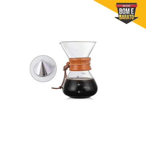 Jarra de Café com Filtro e Colar de Madeira com alça de Couro 400ml -