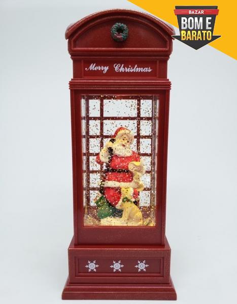 Mini Cabine Telefônica C/Neve Papai Noel E Luz Vermelho Vermelho