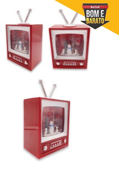 Televisão Enfeite Luminoso De Natal 21cm A Pilha Modelo Luxo