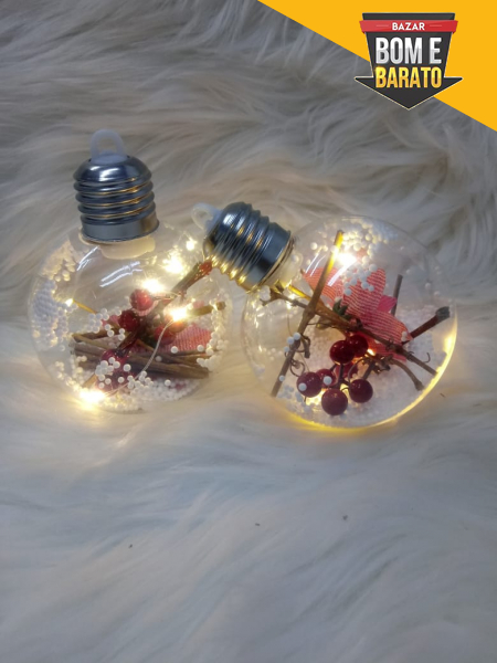 BOLAS DECORADAS COM LED C/2UN